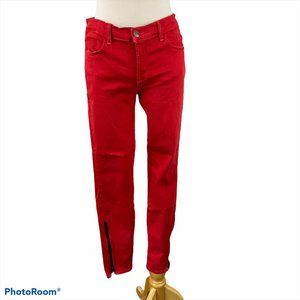J BRAND Great Red Skinny Pants with Zipper
